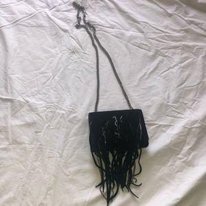 Black Fringe YSL Shoulder Bag